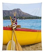 Waikiki Canoe Paddles Tapestry