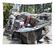Waikiki Statue - Surfer Boy And Seal Tapestry