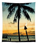 Waikiki Sunset Tapestry