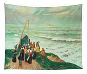 Waiting For The Return Of The Fishermen In Brittany Tapestry