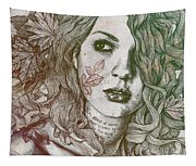 Wake - Autumn - Street Art Woman With Maple Leaves Tattoo Tapestry