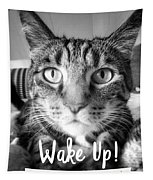 Wake Up It's Your Birthday Cat- Art By Linda Woods Tapestry