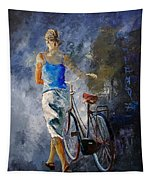 Waking Aside Her Bike 68 Tapestry