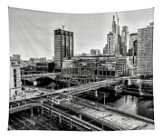 Walnut Street City View In Black And White Tapestry