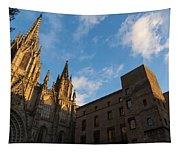 Warm Sun Glow On The Cathedral Of Barcelona Tapestry