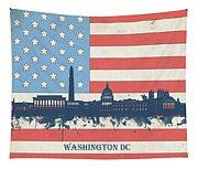 Washington Dc Skyline Usa Flag 3 Tapestry