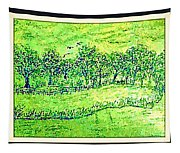 Water Color Of Apple Orchard Farm Tapestry