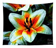 Water Droplet Covered White Lily  Tapestry