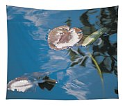 Water Lily Leaves And Reflection Of Clouds In Unknown Lake Tapestry