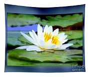 Water Lily With Blue Border - Digital Painting Tapestry