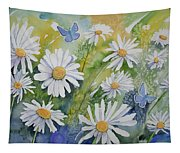 Watercolor - Daisies And Common Blue Butterflies Tapestry