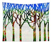 Watercolor Forest Silhouette Summer Tapestry