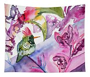 Watercolor - Frilled Coquette Hummingbird With Colorful Background Tapestry