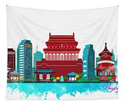 Watercolor Illustration Of Beijing Tapestry