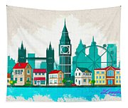 Watercolor Illustration Of London Tapestry