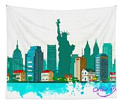 Watercolor Illustration Of New York Tapestry