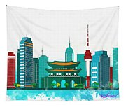 Watercolor Illustration Of Seoul Tapestry