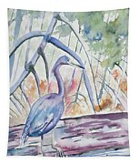Watercolor - Little Blue Heron In Mangrove Forest Tapestry