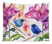Watercolor - Masked Flowerpiercers With Flowers Tapestry