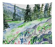 Watercolor - Mountain Pines And Indian Paintbrush Tapestry