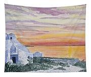 Watercolor - Mykonos Sunset Tapestry