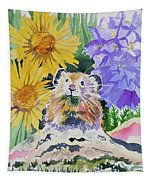 Watercolor - Pika With Wildflowers Tapestry