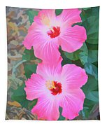 Watercolor Pink Hibiscus Blooms Vertical Tapestry