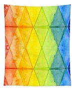 Watercolor Rainbow Pattern Geometric Shapes Triangles Tapestry
