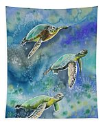 Watercolor - Sea Turtles Swimming Tapestry