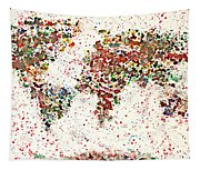 Watercolor Splashes World Map 2 Tapestry