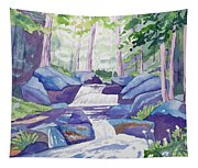 Watercolor - Summer Mountain Forest And Stream Tapestry
