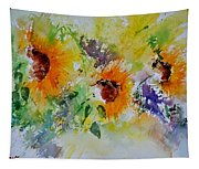 Watercolor Sunflowers Tapestry