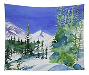 Watercolor - Sunny Winter Day In The Mountains Tapestry