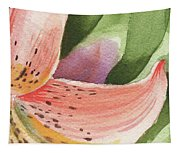 Watercolor Tiger Lily Dance Of Petals Close Up  Tapestry
