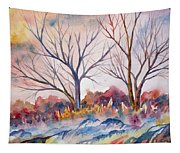 Watercolor - Trees And Woodland Meadow Tapestry