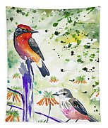 Watercolor - Vermilion Flycatcher Pair In Quito Tapestry