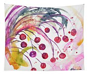 Watercolor - Winter Berry Abstract Tapestry