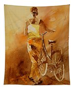 Watercolor With My Bike Tapestry