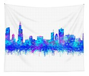 Watercolour Splashes And Dripping Effect Chicago Skyline Tapestry