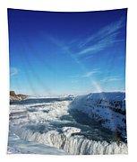 Waterfall Gullfoss In Winter Iceland Europe Tapestry