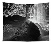 Waterfall Of The Caverns Black And White Tapestry
