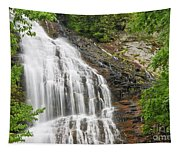 Waterfall With Green Leaves Tapestry