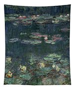 Waterlilies Green Reflections Tapestry by Claude Monet