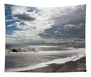 Waves Breaking Against The Beach And Cloud Streaming Above  Skegness Lincolnshire England Tapestry