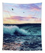 Waves Crashing At Sunset Tapestry