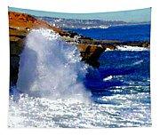 Waves Crashing On The Rocks Tapestry