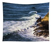 Waves Rocks And Birds Tapestry