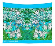 Waxleaf Privet Blooms In Aqua Hue Abstract With Aqua Frame Tapestry