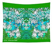 Waxleaf Privet Blooms In Aqua Hue Abstract With Green Frame Tapestry