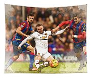 Wayne Rooney Shoots At Goal Tapestry